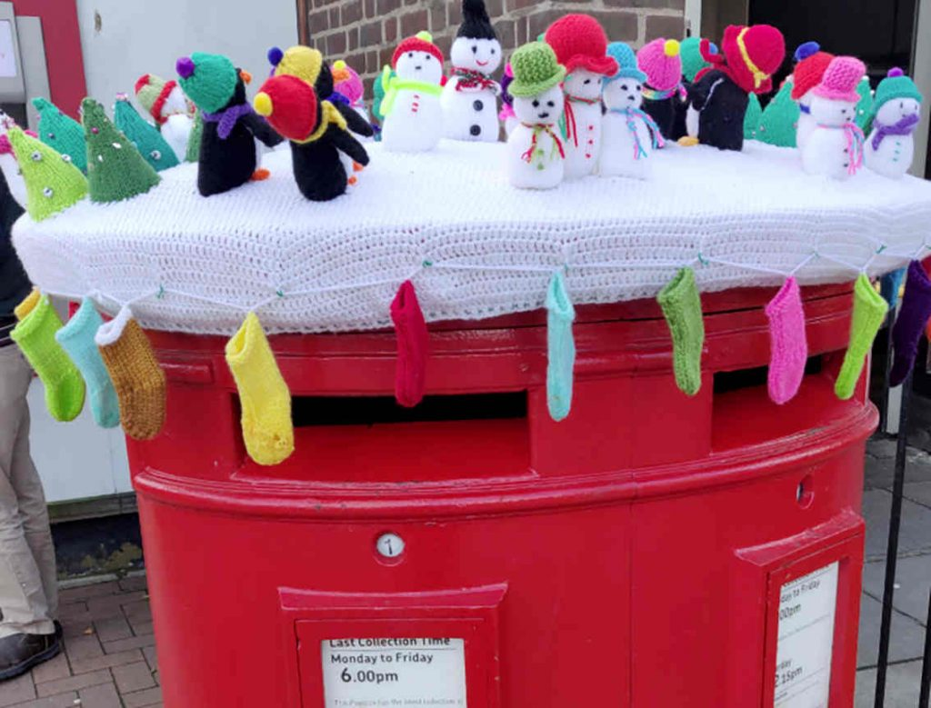Knitted winter scene at Faversham Post Office